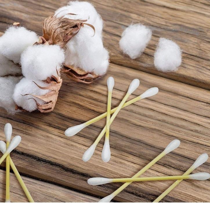 Bastoncillos o hisopos ecológico de bambú y algodón.