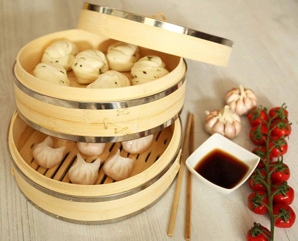 vaporera de bambú.