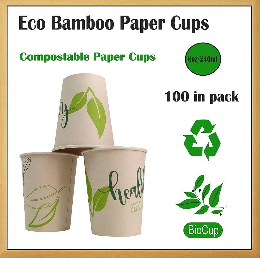 vaso de bambú desechable.